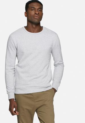 Basicthread Side Zip Sweat Hoodies & Sweatshirts Grey Melange
