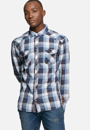GUESS Allen Plaid Shirt Grey & Blue