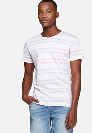Selected Homme Martin Tee T-Shirts & Vests White & Red
