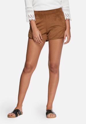 VILA Seila Faux Suede Shorts Brown
