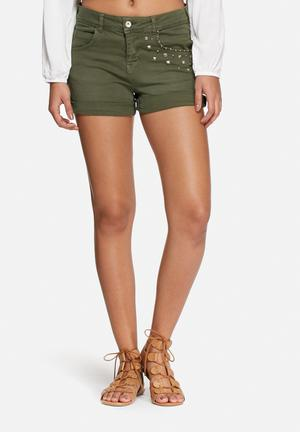 ONLY Austin Embellished Shorts Green