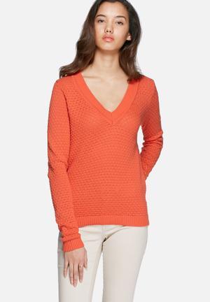 VILA Share V-neck Knit Knitwear Orange