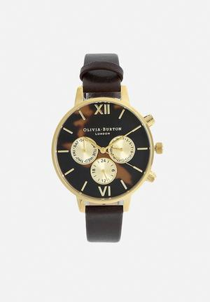 Olivia Burton Tortoiseshell Watches Black & Gold