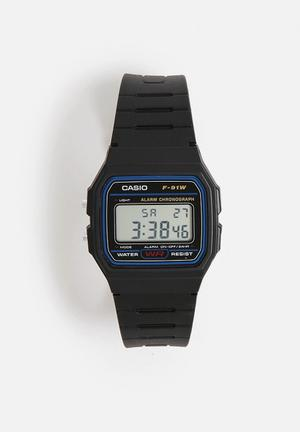 Casio Digital Sports Watch F91W Black