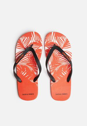 Jack & Jones Footwear & Accessories Rubber Flower Sandals & Flip Flops Red