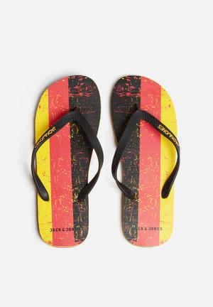Jack & Jones Footwear & Accessories Rubber Flag Sandals & Flip Flops Red / Yellow