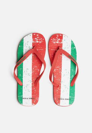 Jack & Jones Footwear & Accessories Rubber Flag Sandals & Flip Flops Green / Red