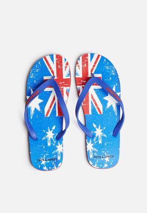 Jack & Jones Footwear & Accessories Rubber Flag Sandals & Flip Flops Red / Blue