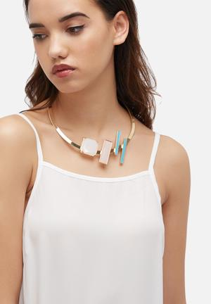 Glamorous Geo Necklace Jewellery Gold, Turquoise, White & Pink