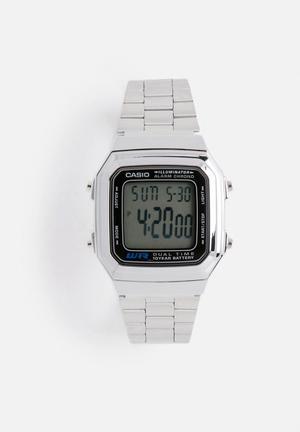 Casio LCD Watch A178WA-1AUDF Silver