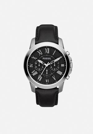Fossil Grant Watches Black & Silver