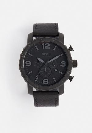 Fossil Nate Watches Stainless Steel & Leather