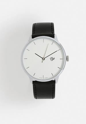 CHPO Khorshid Watches Silver Dial / Black Vegan Leather Strap