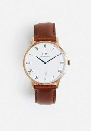 Daniel Wellington Dapper St Mawes Watches Roe Gold Face & Dark Brown Leather Strap