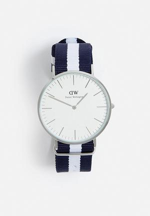 Daniel Wellington Glasgow Watches Stainless Steel & Canvas Strap
