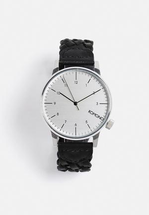 Komono  Winston Woven Watches Black & Silver