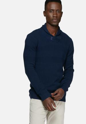 Casual Friday Textured Knit Knitwear Navy