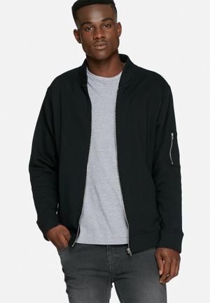 Basicthread Bomber Zip Sweat Hoodies & Sweatshirts Black