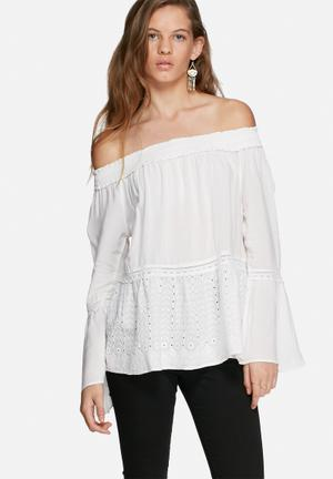 Vero Moda James Off Shoulder Top Blouses White
