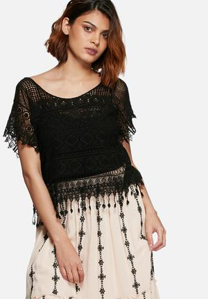 Vero Moda Sanna Lace Top Blouses Black