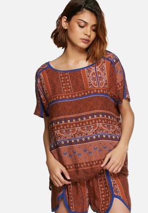 Vero Moda Stine Top Blouses Brown & Blue