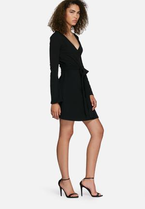 Dailyfriday Fluted Sleeve Wrap Dress Formal Black