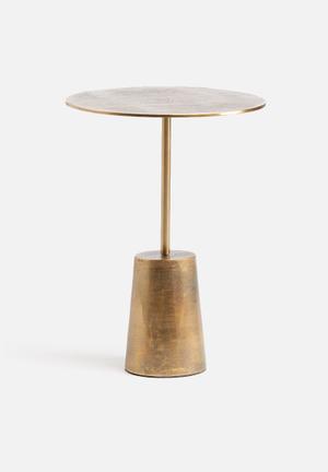 Sixth Floor Brass Antique Side Table Aluminium
