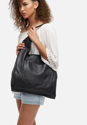FSP Collection Cassie Leather Hobo Bags & Purses Black