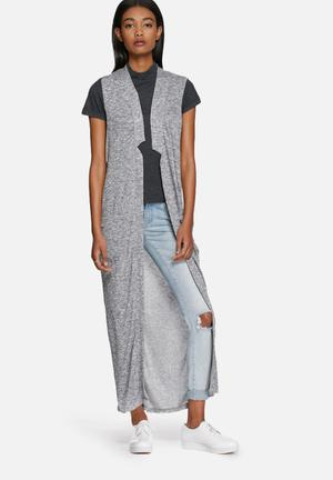 Noisy May Evita Long Cardigan Knitwear Grey Melange