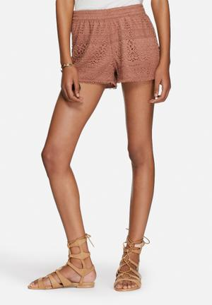 ONLY Heaven Lace Shorts Brown