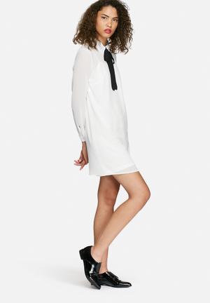 Dailyfriday Chiffon Collared Tunic Dress Formal White