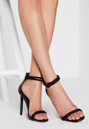 Missguided Knotted Ankle Strap Heel Black