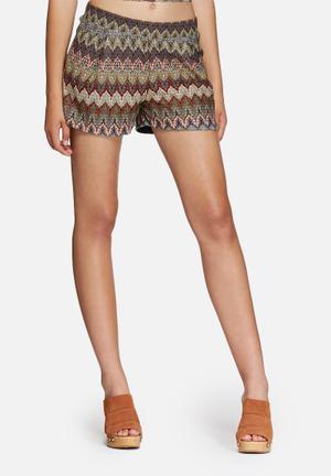 Vero Moda Cita Shorts Beige, Black, Purple & Orange