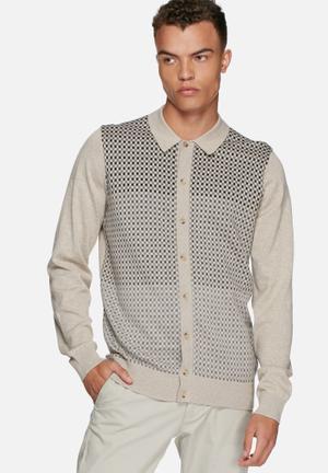 Ben Sherman Collared Cardigan Knitwear Beige