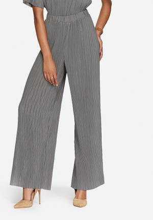 ADPT. Blend Plissé Pants Trousers Grey / Moss Green