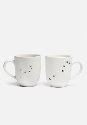 Love Milo Bird Mug Set Of 2 Porcelain