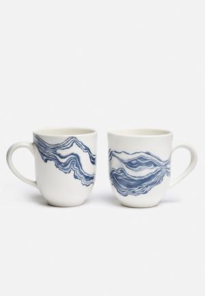 Love Milo Indigi Mug Set Of 2 Stoneware