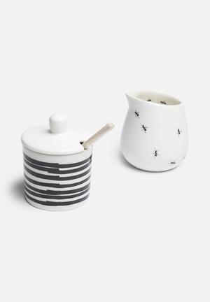 Love Milo Stripe Sugar Pot & Ant Milk Jug Set Drinkware & Mugs Milk Jugs - Handmade Stoneware