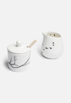 Love Milo Branch Sugar Pot & Bird Milk Jug Set Drinkware & Mugs Milk Jugs - Handmade Stoneware