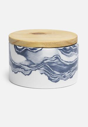 Love Milo Small Indigo Jar Organisers & Storage Ceramic & Wood