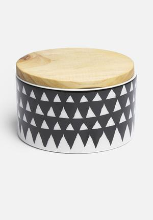 Love Milo Triangle Jar With Lid Organisers & Storage Ceramic & Wood