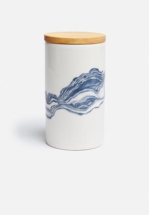 Love Milo Large Indigo Jar Organisers & Storage Ceramic & Wood