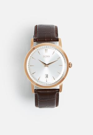 Hugo Boss Classic Slim Watches Rose Gold Case/ Brown Leather Strap