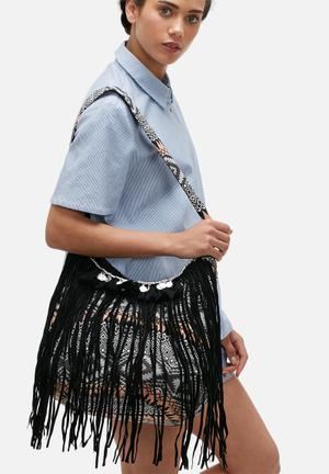 Glamorous Embroidered Hobo Bag Orange / Black / White