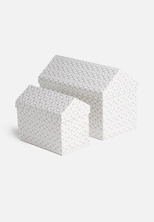 MatchBOX Bodil 2 Piece House Boxes Gifting & Stationery White & Gold