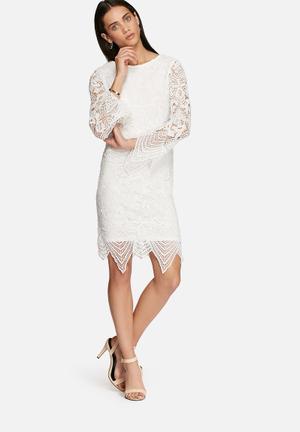 Glamorous Lace Sleeve Dress Occasion White