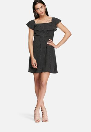Glamorous Tiny Dot Dress Casual Black & White