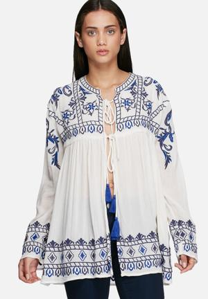 Glamorous Embroidered Front Tie Jacket White / Blue