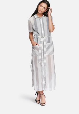 Glamorous Stripe Shirt Dress Casual White / Grey