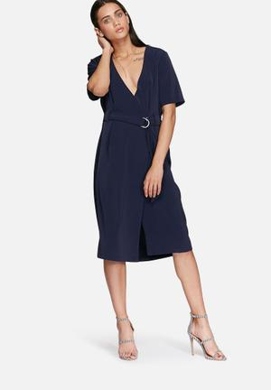Glamorous Belted Dress Formal Navy